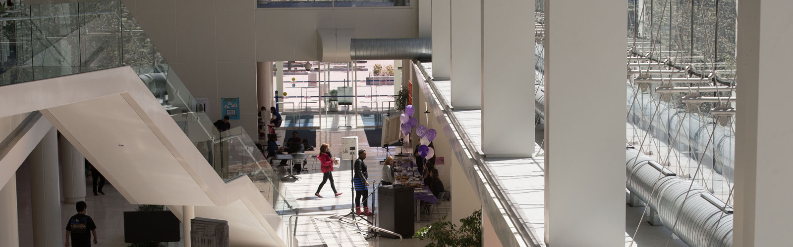 A view of the atrium at the Stamford campus