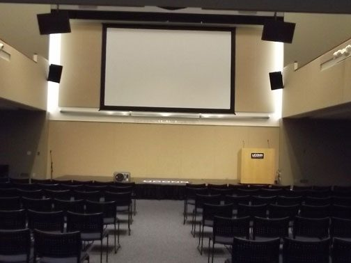 Gen Re Auditorium Room 109 (A-1) (rear view) ,LCD Projector with stage